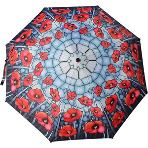 COLLAPSIBLE UMBRELLA STAINED GLASS POPPIES
