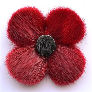 SEALSKIN POPPY BROOCH