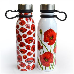 WATER BOTTLE POPPY MOTIF SET OF 2