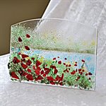 FUSED GLASS ART, POPPY FIELD