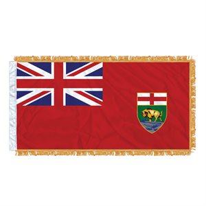 """FLAG MANITOBA 54"""" X 27"""" SLEEVED & FRINGED"""