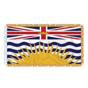 """FLAG BRITISH COLUMBIA 54"""" X 27"""" SLEEVED & FRINGED"""