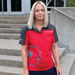 GOLF SHIRT LEST WE FORGET LADIES RED / GREY POLY / BLEND